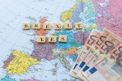 Texto de Brexit en mapa Foto de archivo libre de regalías