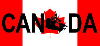 Texto de Canadá com mapa Fotografia de Stock Royalty Free