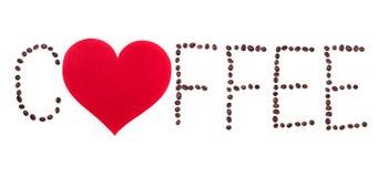 Texto de Coffeebeans com coração no fundo branco Imagem de Stock Royalty Free