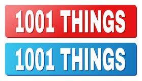 Texto de 1001 COSAS en los botones azules y rojos del rectángulo ilustración del vector