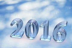 Texto de cristal de la Navidad del Año Nuevo 2016 en nieve Imagenes de archivo