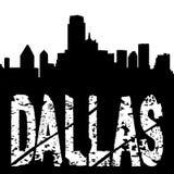 Texto de Dallas com skyline ilustração do vetor