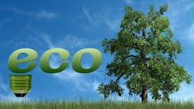 Texto de Eco e árvore - conceito da ecologia Foto de Stock