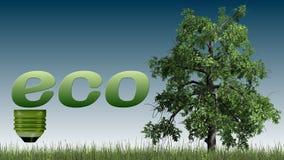 Texto de Eco e árvore - conceito da ecologia Fotografia de Stock
