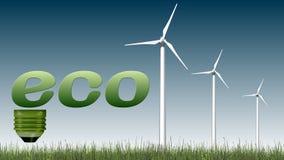 Texto de Eco e turbinas eólicas - conceito da ecologia Imagens de Stock