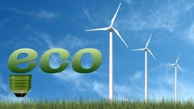 Texto de Eco na ampola e nas turbinas eólicas - conceito da ecologia Fotografia de Stock Royalty Free