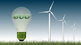 Texto de Eco na ampola e nas turbinas eólicas - conceito da ecologia Foto de Stock Royalty Free