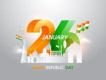 texto 26 de enero 3D con las banderas nacionales y los monumentos indios famosos en el estilo cortado de papel en el fondo brilla ilustración del vector