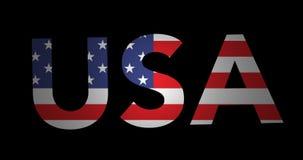 Texto de enfoque los E.E.U.U. con la bandera almacen de video
