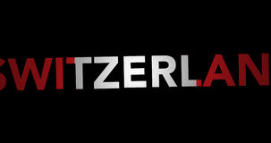 Texto de enfoque Suiza con la bandera almacen de metraje de vídeo