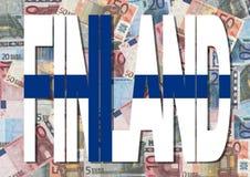 Texto de Finlandia con euros Fotos de archivo