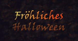 Texto de Frohliches Halloween en la disolución alemana en el polvo a basar Fotografía de archivo