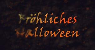 Texto de Frohliches Halloween en la disolución alemana en el polvo a la izquierda Imagenes de archivo