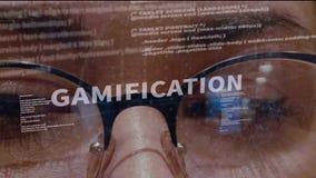 Texto de Gamification no fundo do colaborador filme