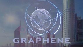 Texto de Graphene con el holograma 3d de la tierra del planeta contra el contexto de la metrópoli moderna libre illustration