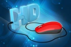 Texto de Hd conectado com o rato do computador Fotografia de Stock