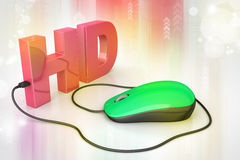 Texto de Hd conectado con el ratón del ordenador Fotografía de archivo