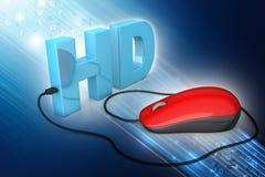Texto de Hd conectado con el ratón del ordenador Fotos de archivo