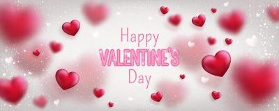 Texto de incandescência para o cartão feliz do dia de Valentim Bandeira bonito do amor para o 14 de fevereiro ilustração stock