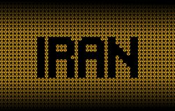Texto de Irán en el ejemplo radiactivo de los símbolos amonestadores Foto de archivo
