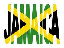 Texto de Jamaica com bandeira ilustração stock