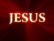 Texto de Jesús en fondo rojo Imagenes de archivo