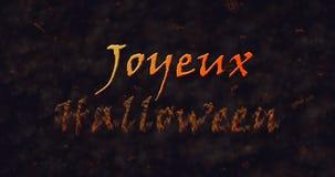 Texto de Joyeux Halloween en la disolución francesa en el polvo a basar Imágenes de archivo libres de regalías