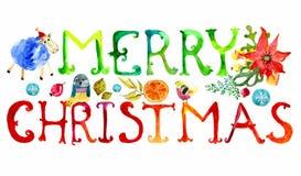 Texto de la acuarela de la Feliz Navidad Imagen de archivo libre de regalías