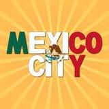 Texto de la bandera de Ciudad de México con el ejemplo del resplandor solar stock de ilustración