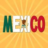 Texto de la bandera de México con el ejemplo del resplandor solar ilustración del vector