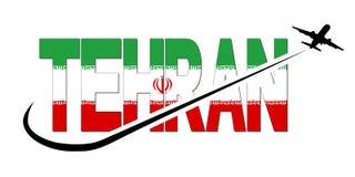 Texto de la bandera de Teherán con el avión y el ejemplo de Swoosh stock de ilustración