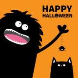 Texto de la calabaza del feliz Halloween Monstruo negro que lleva a cabo la línea insecto de la rociada del Web spider Silueta de Imágenes de archivo libres de regalías