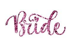 Texto de la caligrafía de la chispa del rosa del partido del pelotón de la novia - novia stock de ilustración
