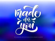 Texto de la caligrafía del vector hecho para usted para la línea de ropa de colección de la tienda de la muchacha foto de archivo