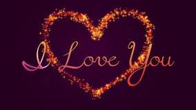 Texto de la caligrafía te amo con un corazón que brilla intensamente libre illustration