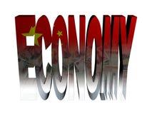 Texto de la economía con el indicador y Yuan chinos Imágenes de archivo libres de regalías