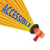 Texto de la escritura accesible Significado del concepto capaz de ser alcanzado o de fácil acceso tolerante amistoso entrada libre illustration