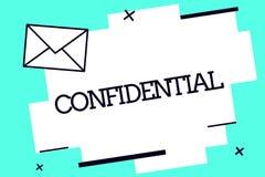 Texto de la escritura confidencial El significado del concepto algo se prepuso ser guardado como información privada secreta stock de ilustración