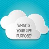 Texto de la escritura cuál es su vida Purposequestion Los objetivos personales de la determinación del significado del concepto a ilustración del vector