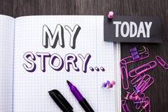 Texto de la escritura mi historia Cartera del perfil de la historia personal del logro de la biografía del significado del concep fotos de archivo libres de regalías