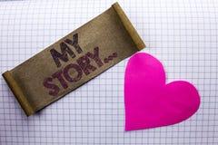 Texto de la escritura mi historia Cartera del perfil de la historia personal del logro de la biografía del significado del concep imagen de archivo libre de regalías