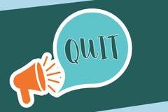 Texto de la escritura de la palabra abandonado El concepto del negocio para dimitir de un trabajo interrumpe la parada de la acci libre illustration