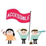 Texto de la escritura de la palabra accesible Concepto del negocio para que capaz sea alcanzado o de fácil acceso tolerante amist stock de ilustración