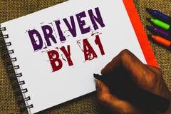 Texto de la escritura de la palabra conducido por A1 Concepto del negocio para el movimiento o controlado por un conductor de cal imagenes de archivo