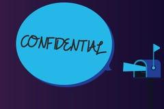 Texto de la escritura de la palabra confidencial Concepto del negocio para algo previsto para ser guardado como información priva stock de ilustración