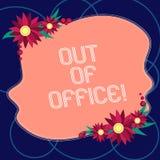 Texto de la escritura de la palabra fuera de la oficina El concepto del negocio para fuera del trabajo nadie en ocio de la rotura ilustración del vector