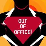 Texto de la escritura de la palabra fuera de la oficina El concepto del negocio para fuera del trabajo nadie en ocio de la rotura stock de ilustración