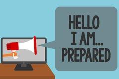 Texto de la escritura de la palabra hola soy preparado El concepto del negocio para se presenta alguien pues usted es el alarmar  libre illustration