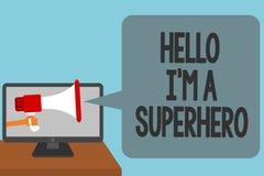 Texto de la escritura de la palabra hola soy un super héroe El concepto del negocio para creer en sí mismo el alarmar de la intro ilustración del vector