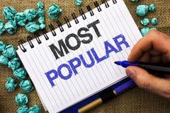 Texto de la escritura de la palabra más popular Concepto del negocio para el producto o el artista preferido 1r del bestseller su Imagen de archivo